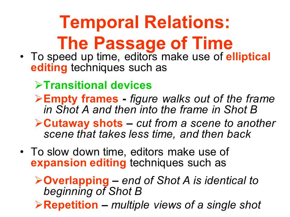 Temporal Relations: The Passage of Time
