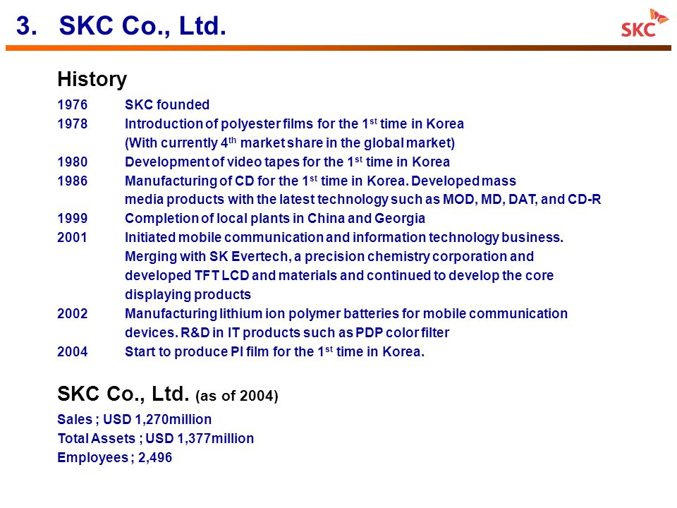 3. SKC Co., Ltd. History SKC Co., Ltd. (as of 2004) 1976 SKC founded