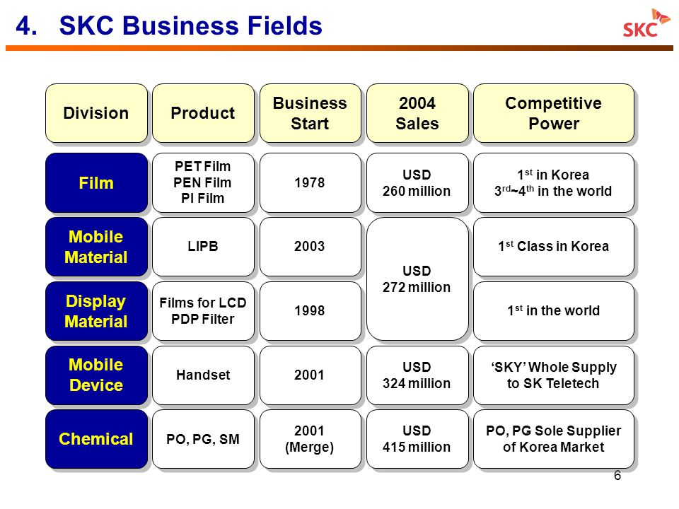 4. SKC Business Fields Division Product Business Start 2004 Sales