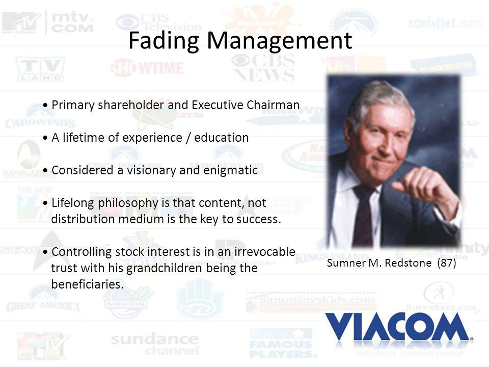 Fading Management • Primary shareholder and Executive Chairman