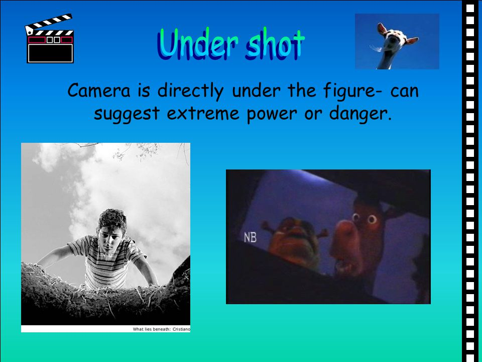 Under shot Camera is directly under the figure- can suggest extreme power or danger.