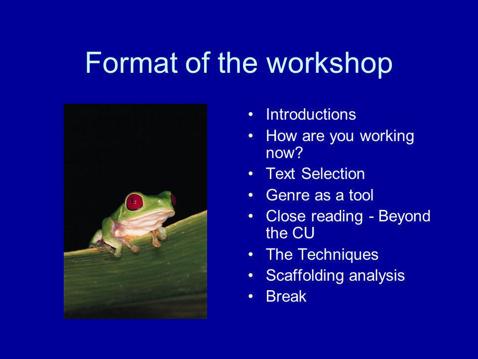 Format of the workshop Introductions How are you working now
