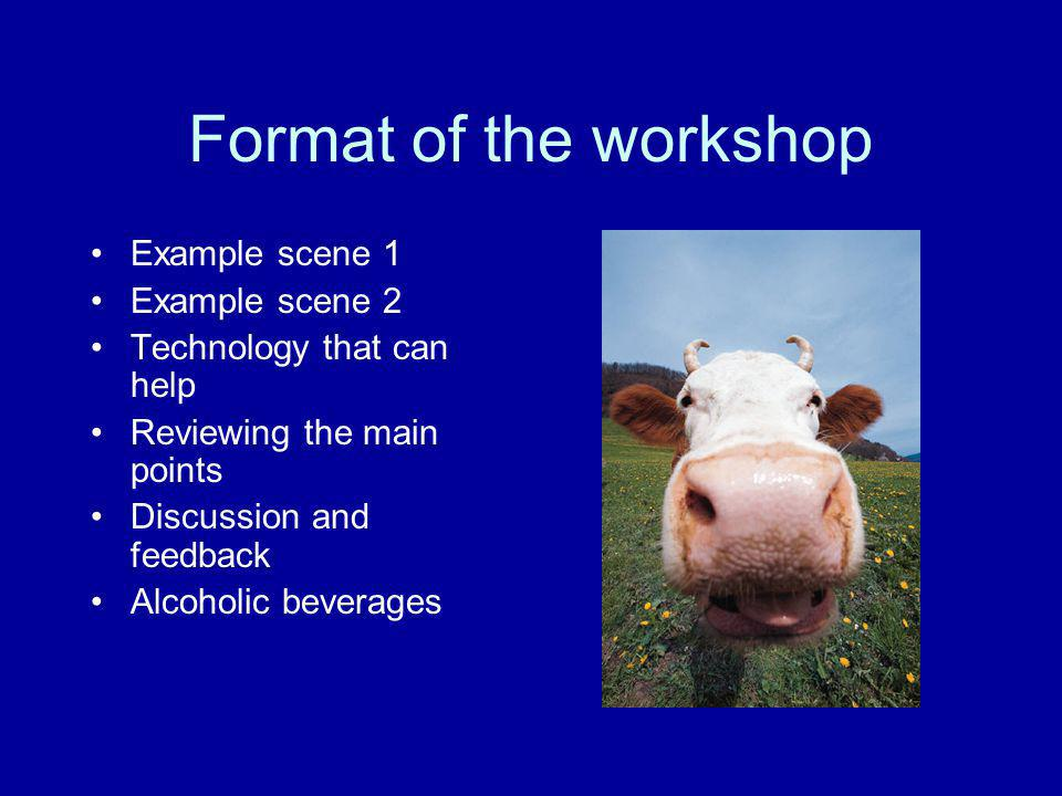 Format of the workshop Example scene 1 Example scene 2
