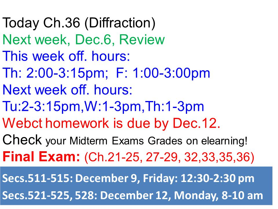 Today Ch.36 (Diffraction) Next week, Dec.6, Review
