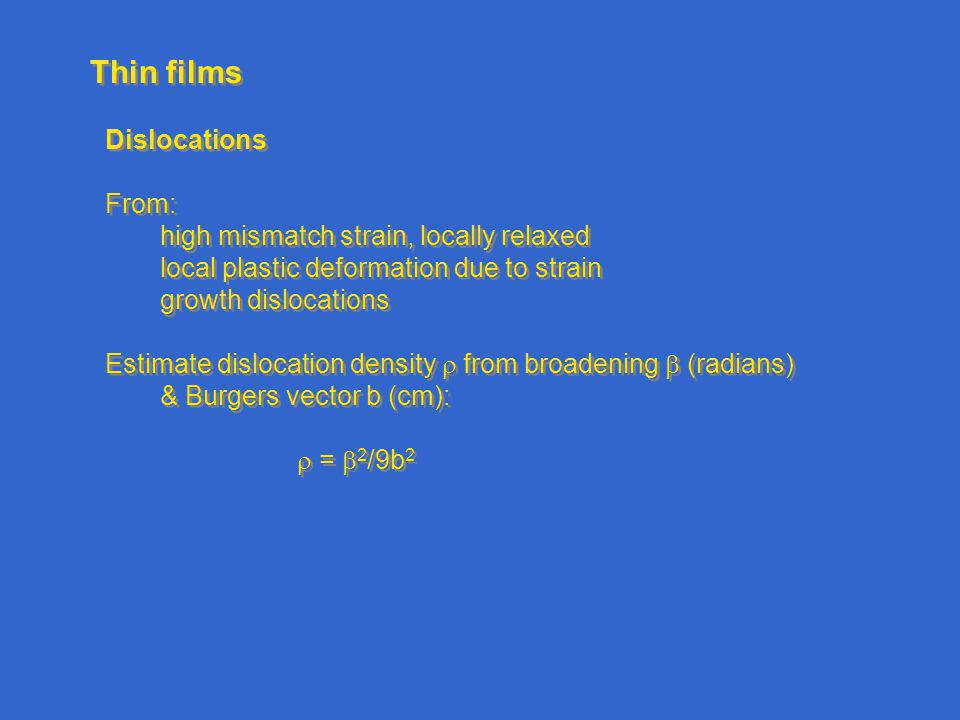 Thin films Dislocations From: high mismatch strain, locally relaxed