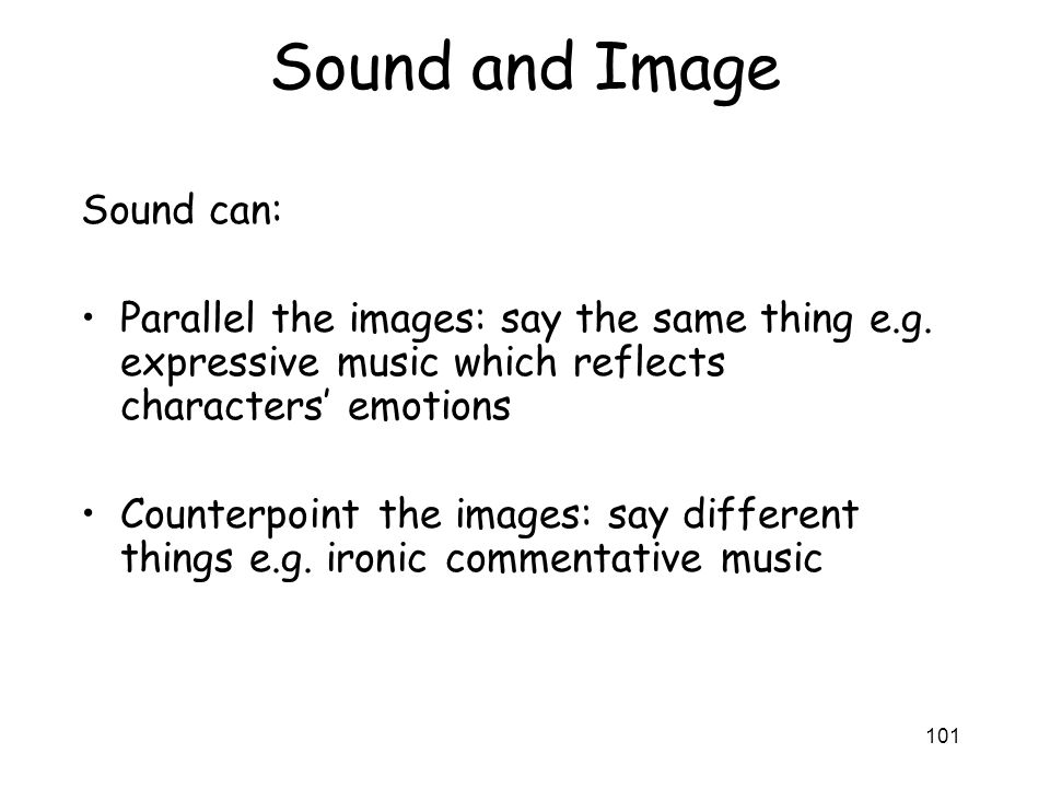 Sound and Image Sound can: