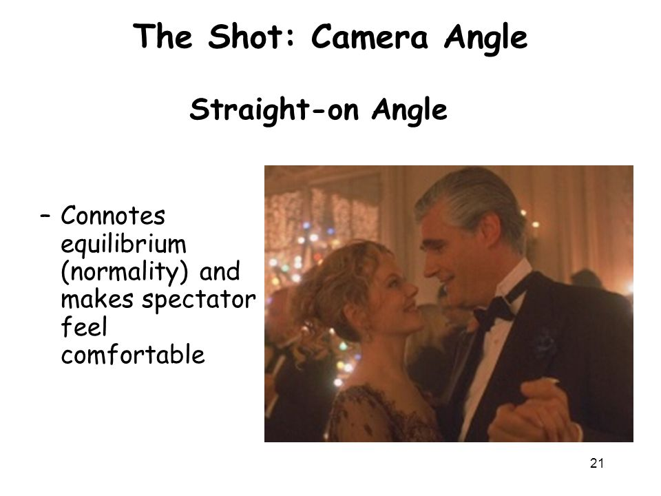 The Shot: Camera Angle Straight-on Angle