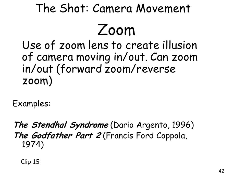 Zoom The Shot: Camera Movement