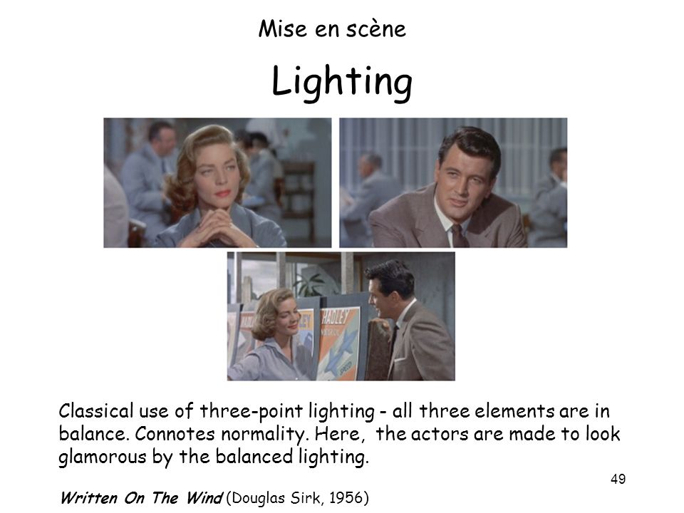 Mise en scène Lighting.