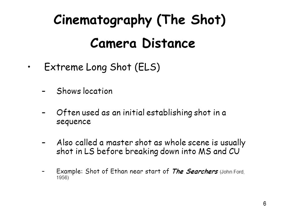 Cinematography (The Shot)
