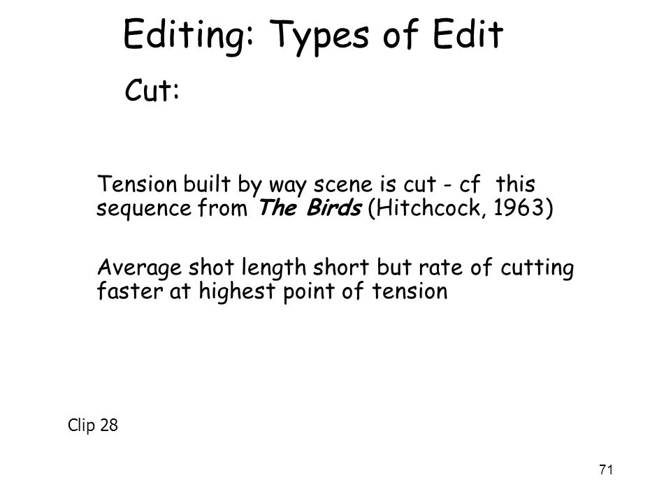 Editing: Types of Edit Cut: