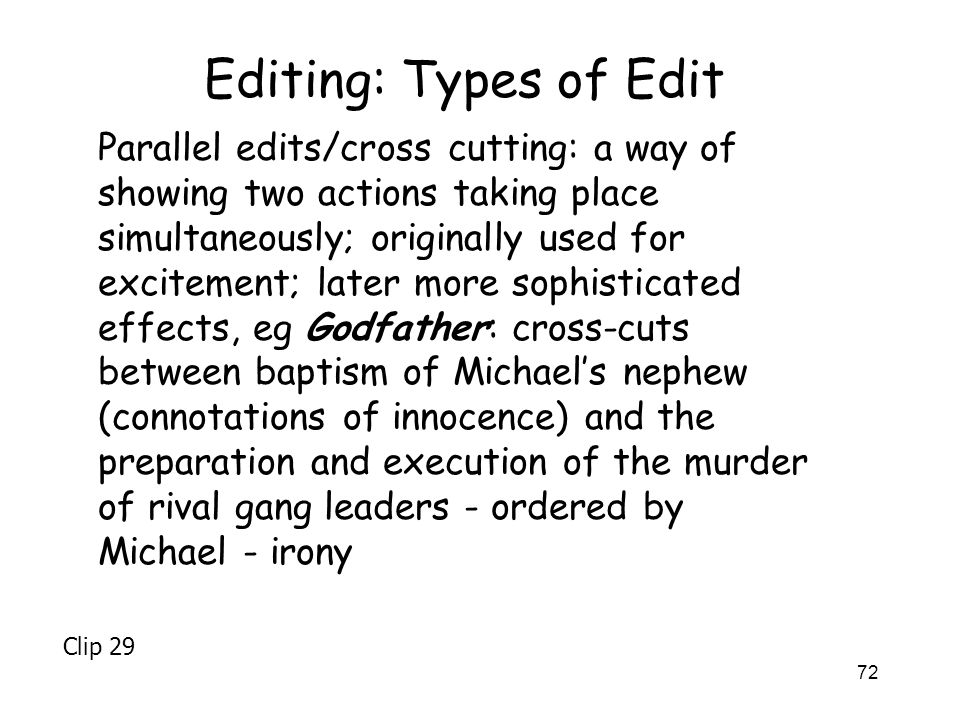 Editing: Types of Edit