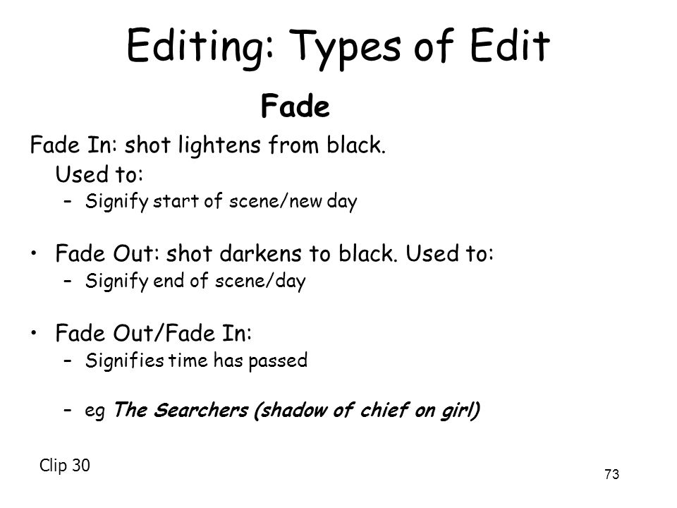 Editing: Types of Edit Fade Fade In: shot lightens from black.