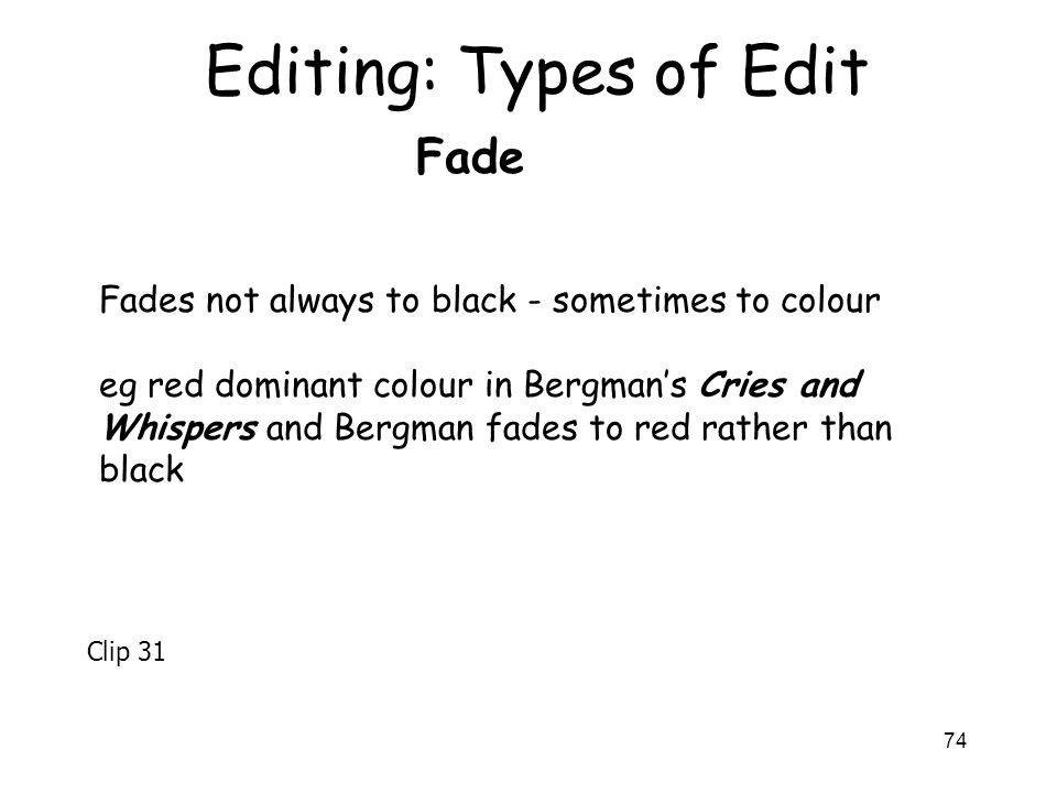 Editing: Types of Edit Fade