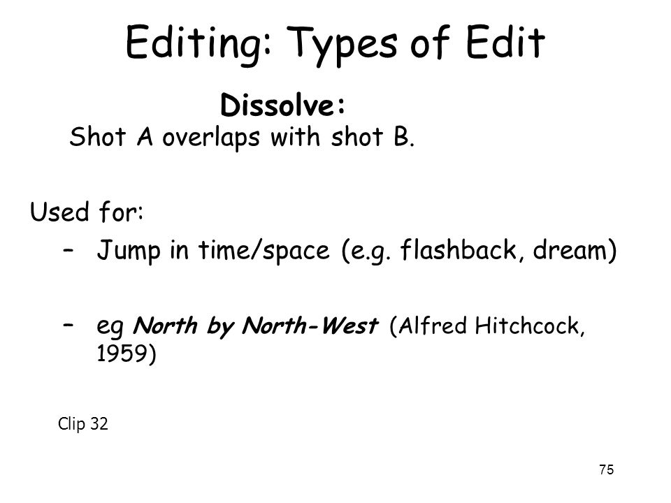 Editing: Types of Edit Dissolve: Shot A overlaps with shot B.