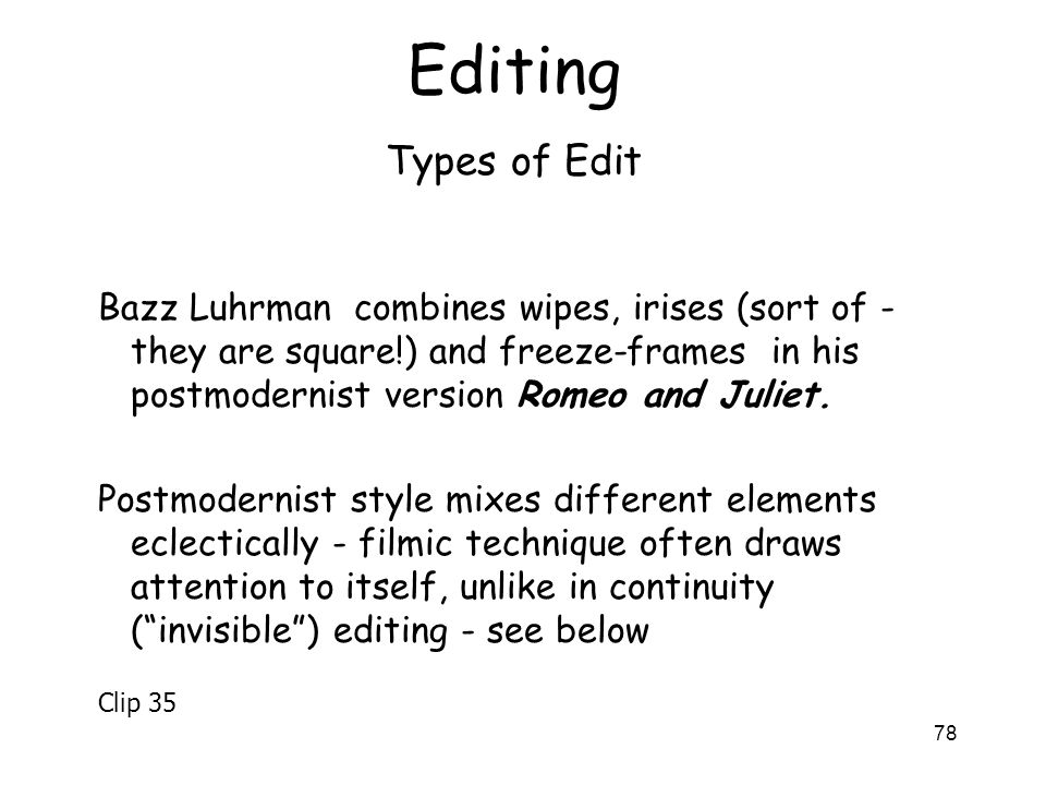Editing Types of Edit.