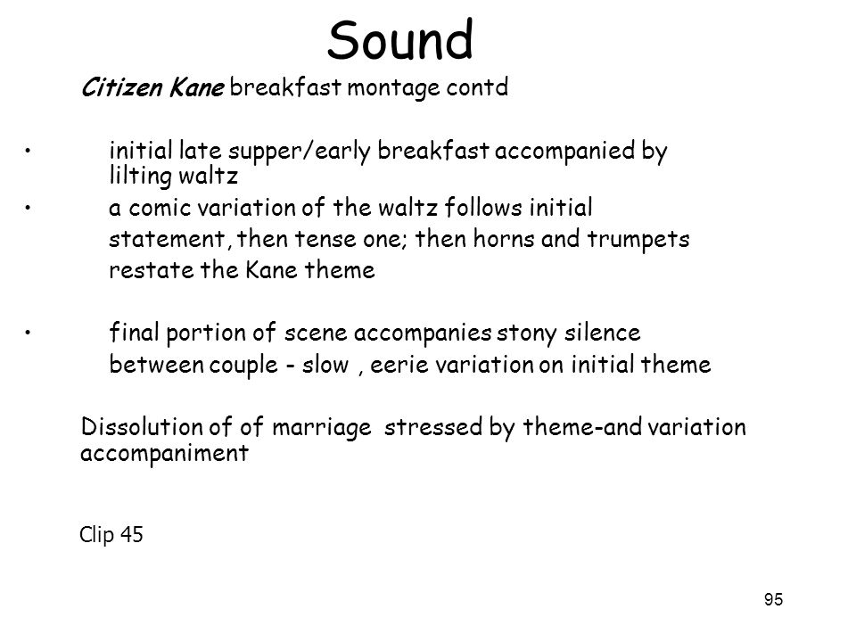 Sound Citizen Kane breakfast montage contd