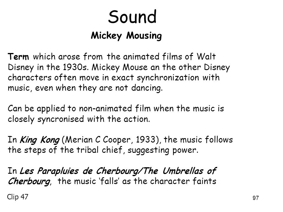 Sound Mickey Mousing.