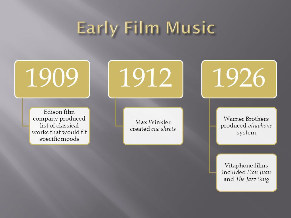 Early Film Music 1909. Edison film company produced list of classical works that would fit specific moods.