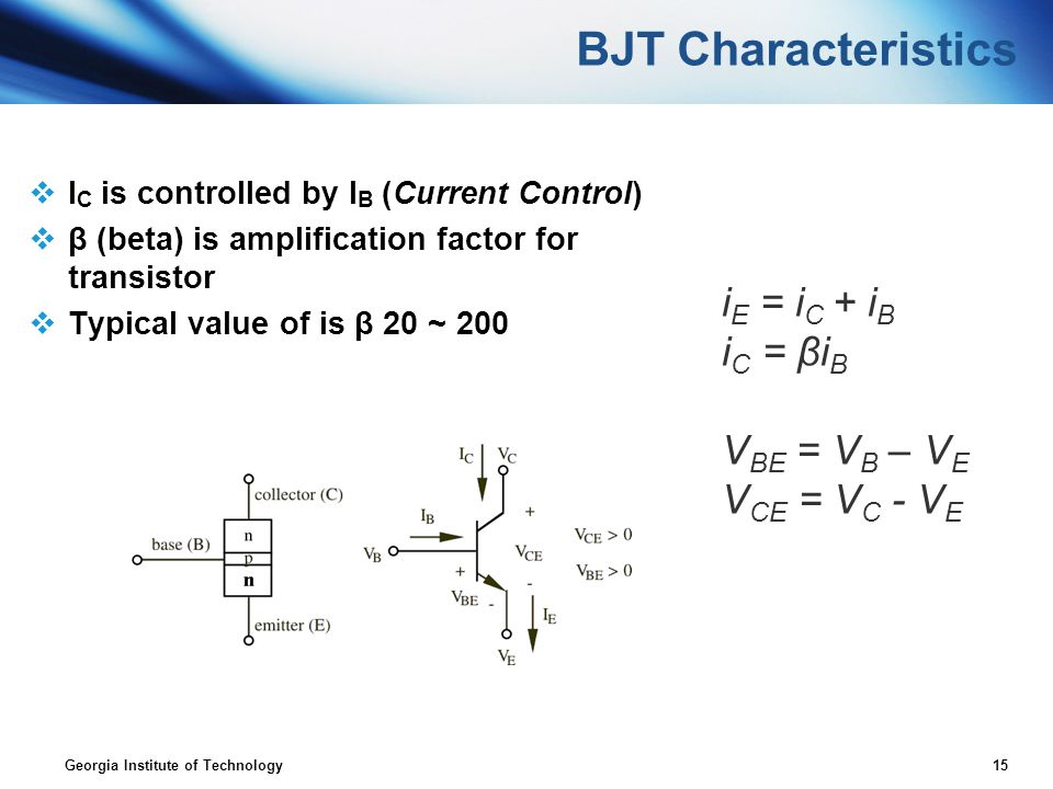 BJT Characteristics iE = iC + iB iC = βiB VBE = VB – VE VCE = VC - VE