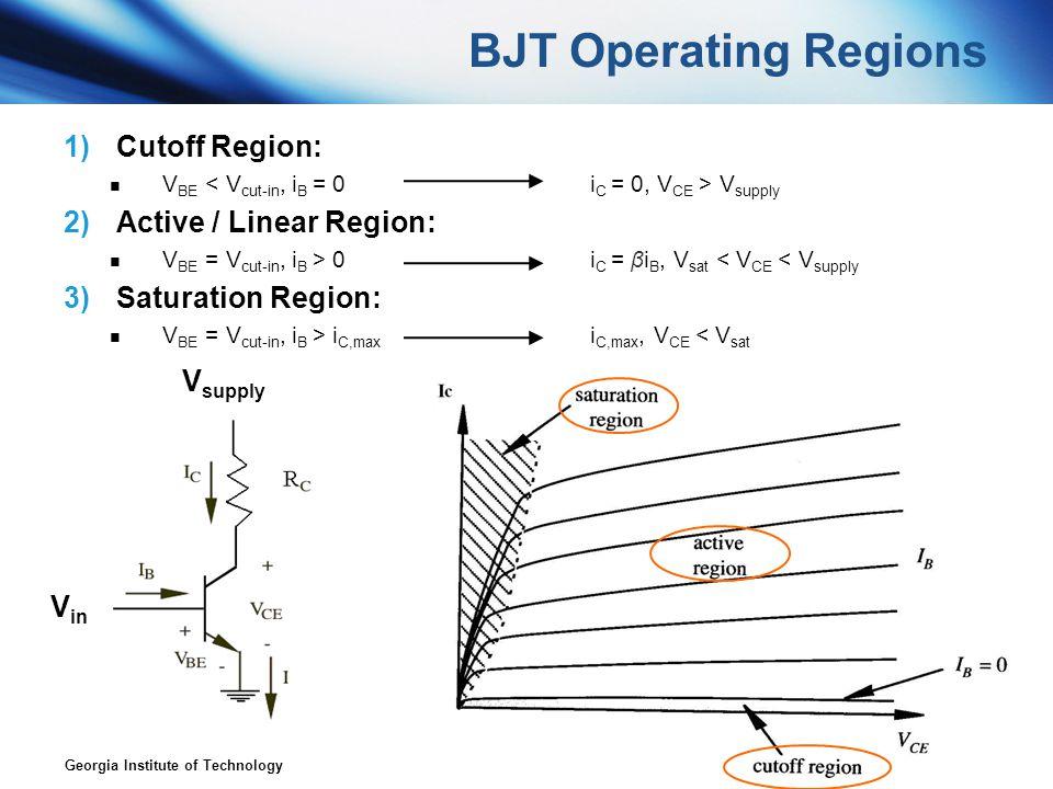 BJT Operating Regions Cutoff Region: Active / Linear Region: