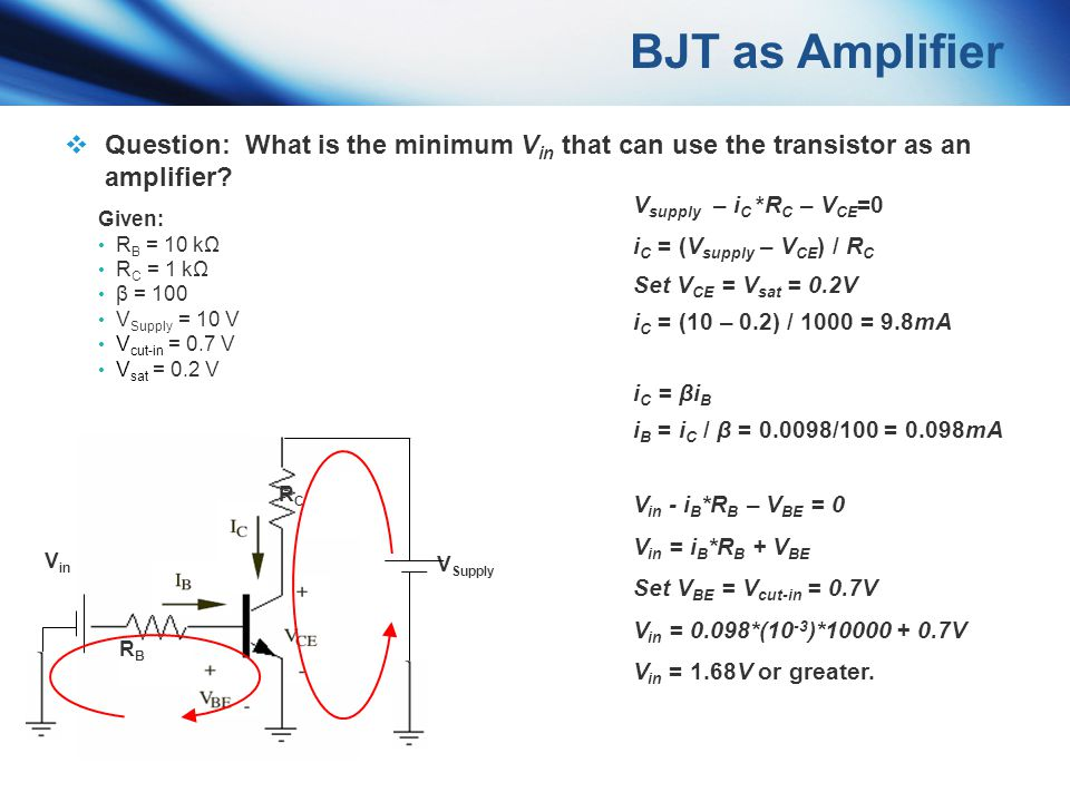 BJT as Amplifier Question: What is the minimum Vin that can use the transistor as an amplifier Vsupply – iC *RC – VCE=0.
