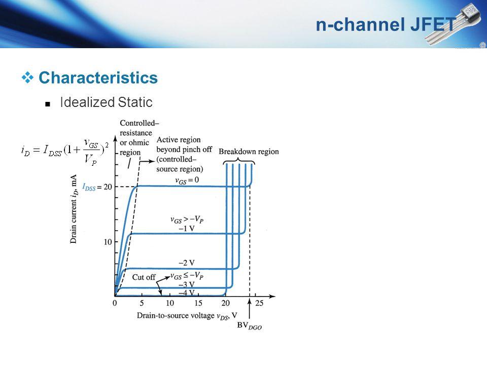 n-channel JFET Characteristics Idealized Static