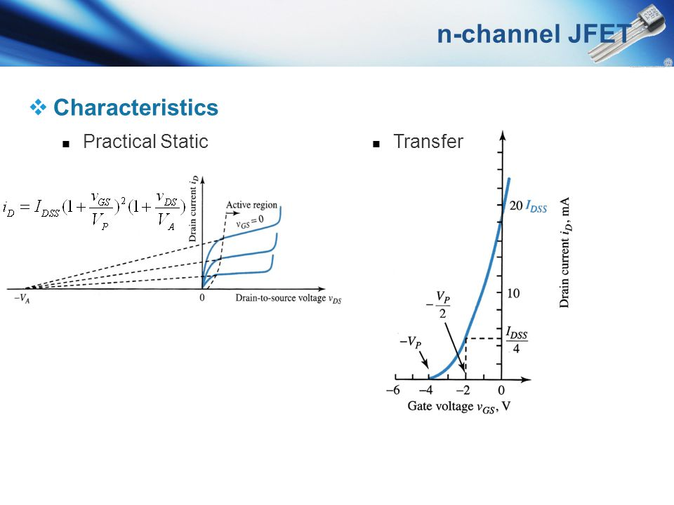 n-channel JFET Characteristics Practical Static Transfer