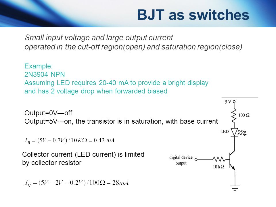 BJT as switches Small input voltage and large output current