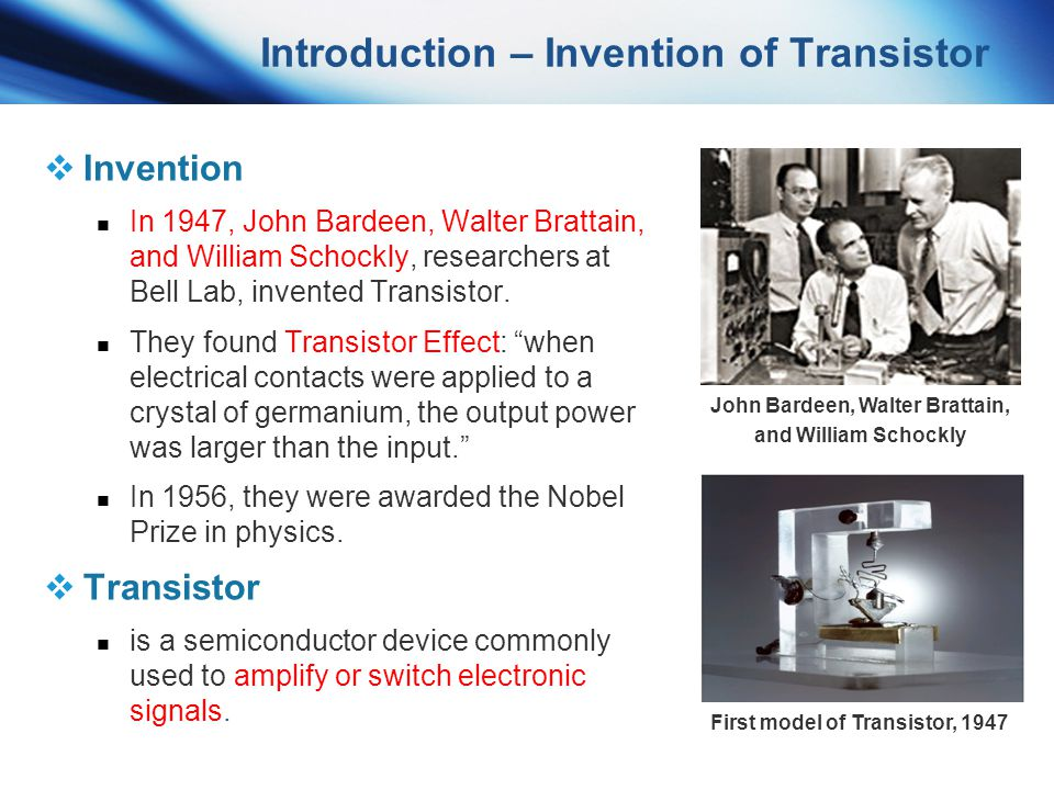 Introduction – Invention of Transistor
