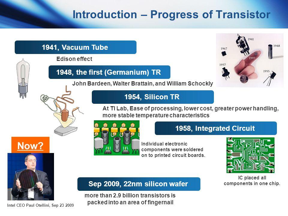 Introduction – Progress of Transistor