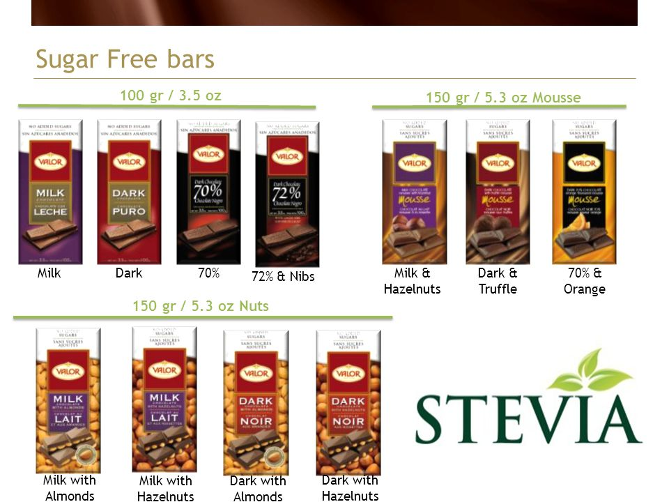 Sugar Free bars 100 gr / 3.5 oz 150 gr / 5.3 oz Mousse