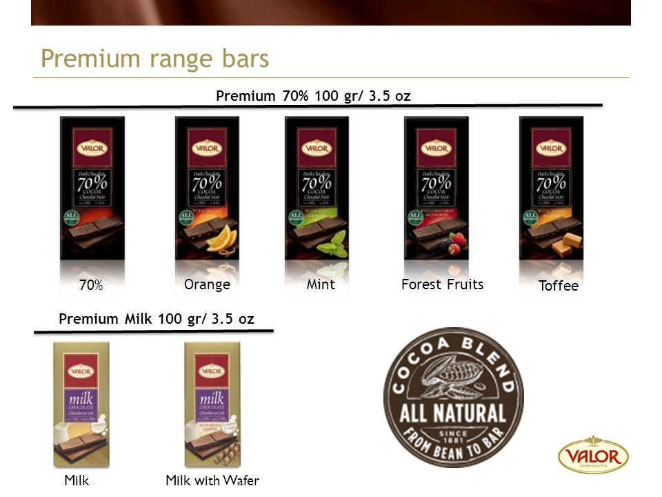 Premium range bars Premium 70% 100 gr/ 3.5 oz 70% Orange Mint