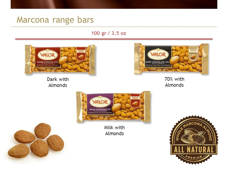 Marcona range bars 100 gr / 3.5 oz Dark with Almonds 70% with Almonds