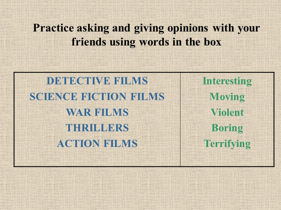 Practice asking and giving opinions with your friends using words in the box