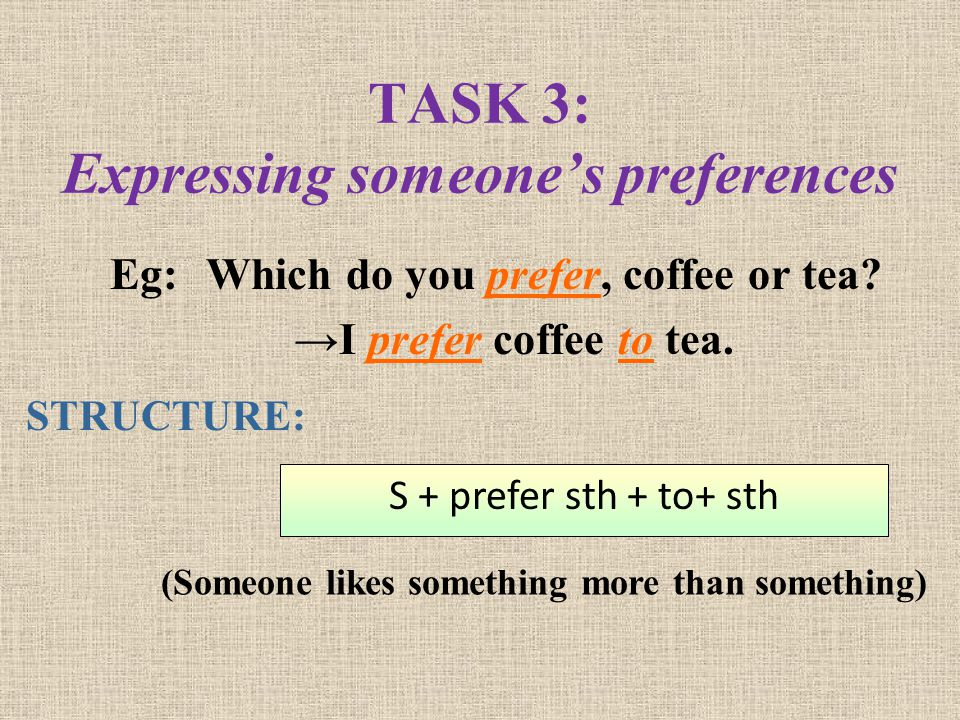 TASK 3: Expressing someone's preferences