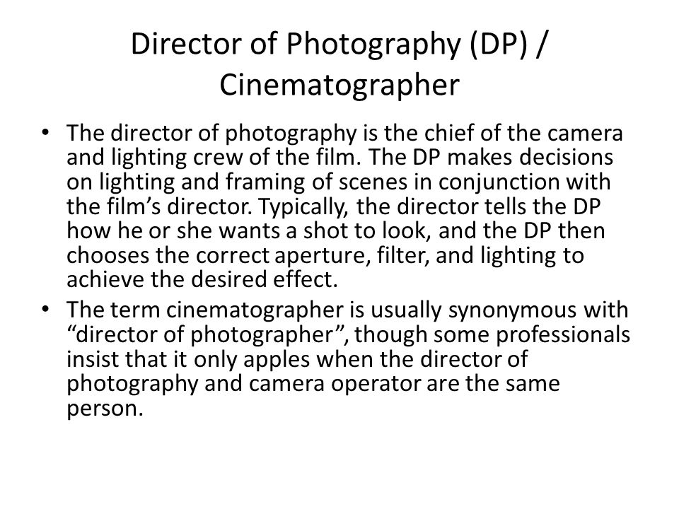 Director of Photography (DP) / Cinematographer