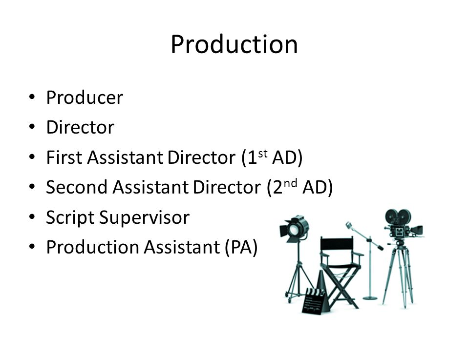 Production Producer Director First Assistant Director (1st AD)