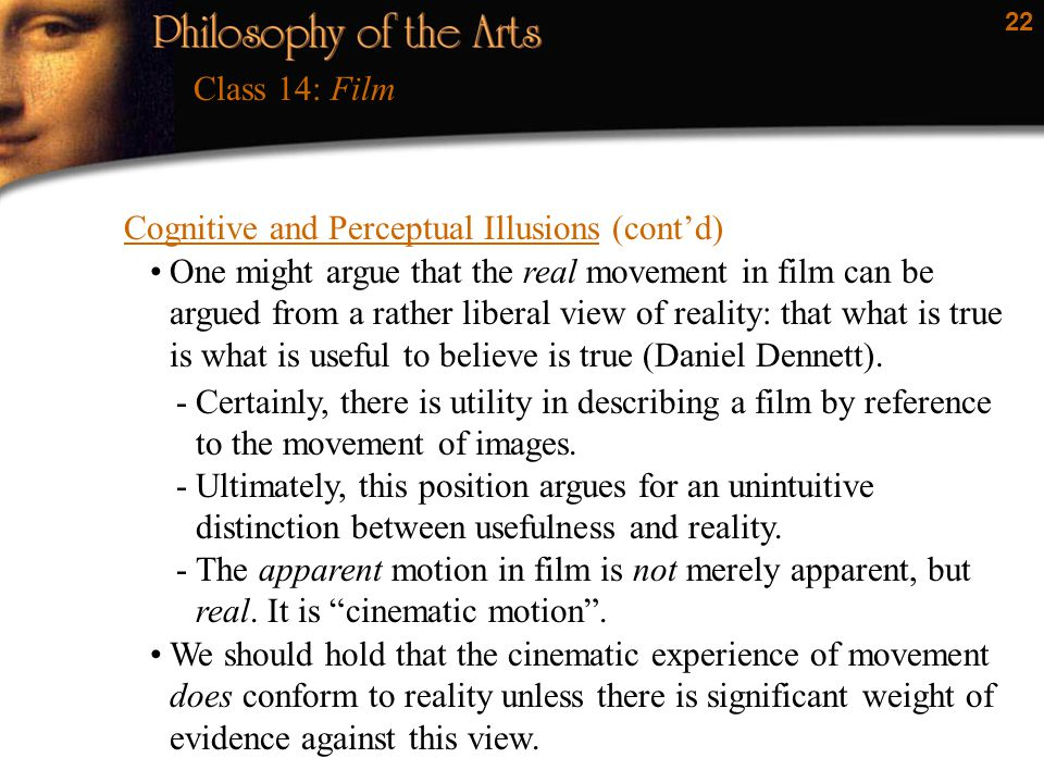 Class 14: Film Cognitive and Perceptual Illusions (cont'd)