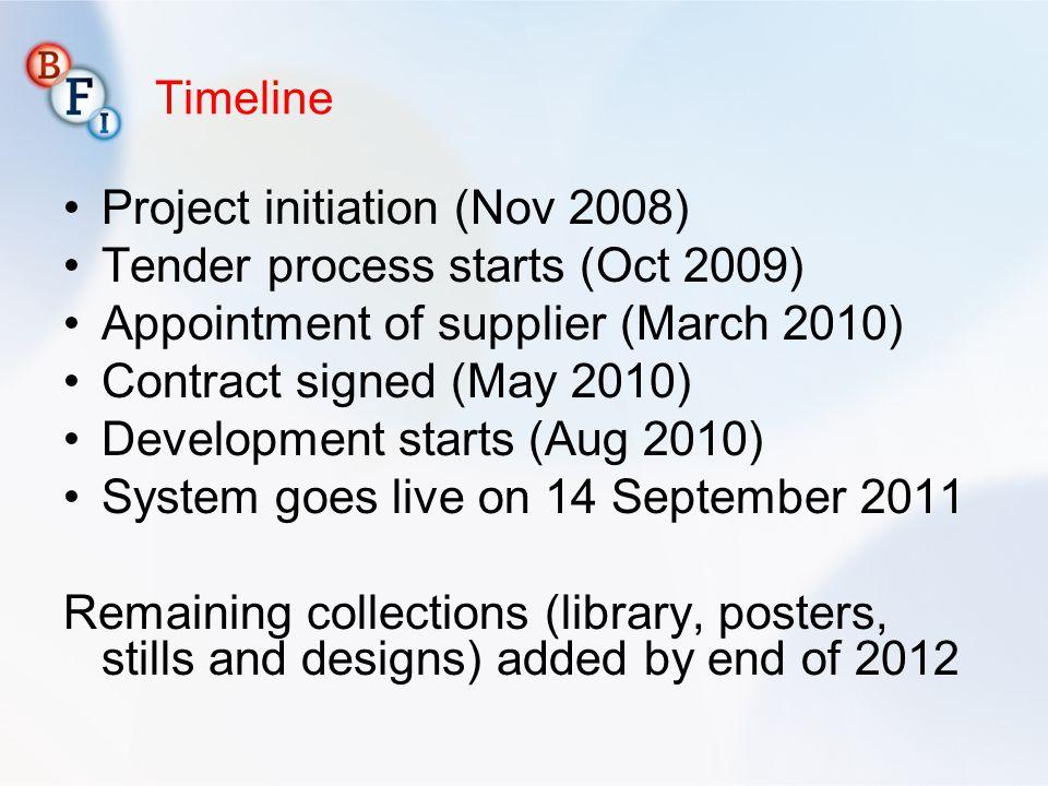 Project initiation (Nov 2008) Tender process starts (Oct 2009)