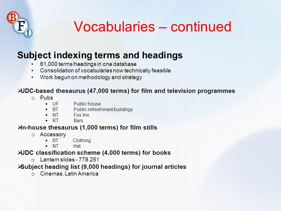 Vocabularies – continued