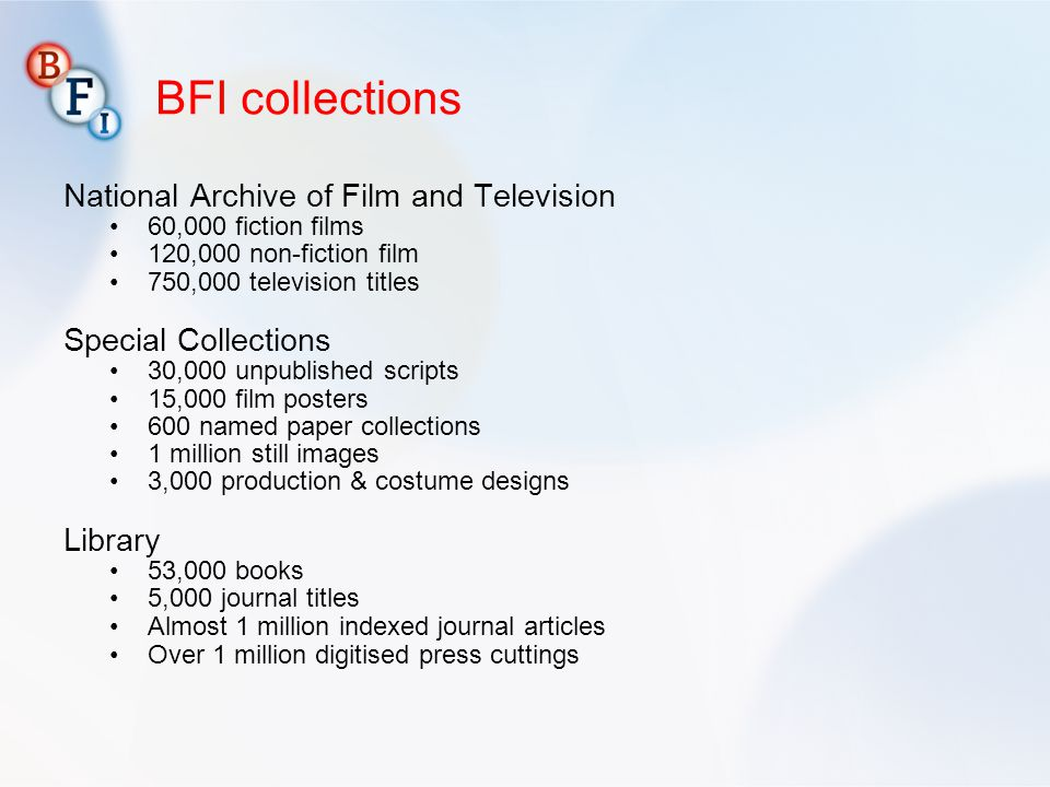 BFI collections National Archive of Film and Television