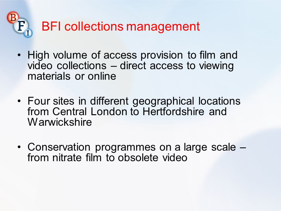 BFI collections management