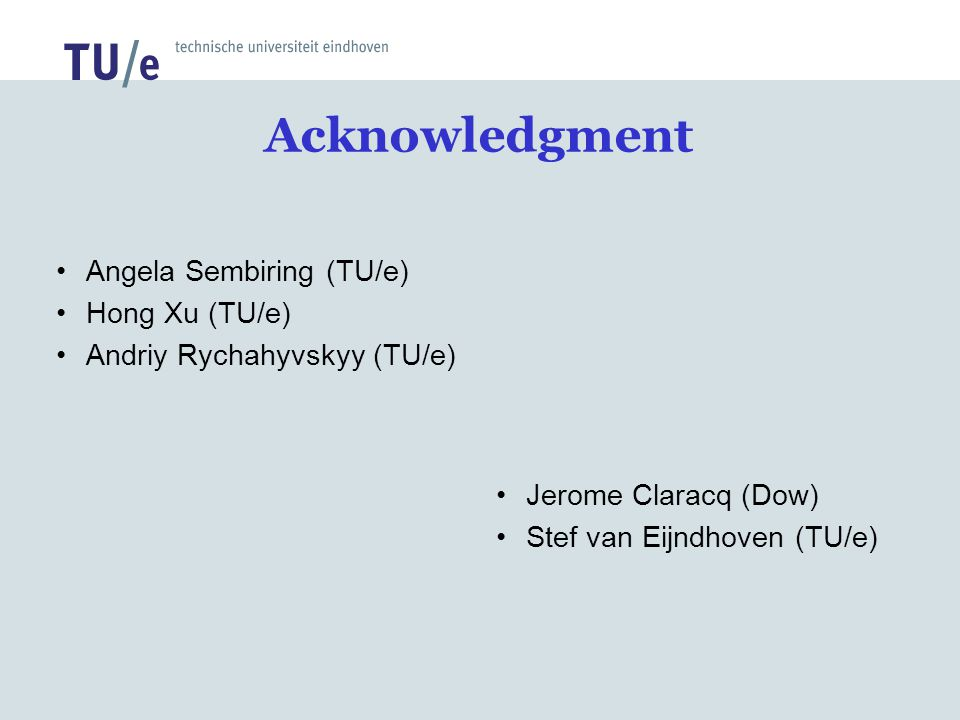 Acknowledgment Angela Sembiring (TU/e) Hong Xu (TU/e)