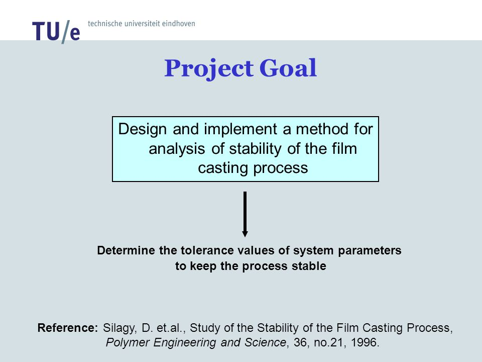 Project Goal Design and implement a method for analysis of stability of the film casting process.