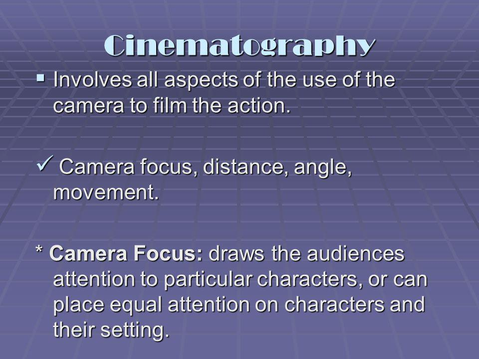 Cinematography Involves all aspects of the use of the camera to film the action. Camera focus, distance, angle, movement.