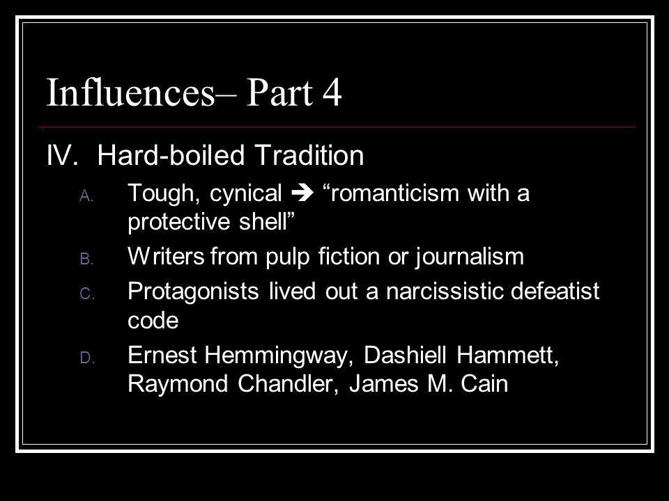 Influences– Part 4 IV. Hard-boiled Tradition