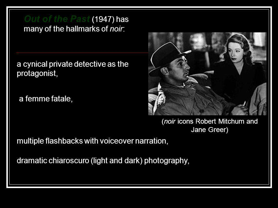 (noir icons Robert Mitchum and Jane Greer)