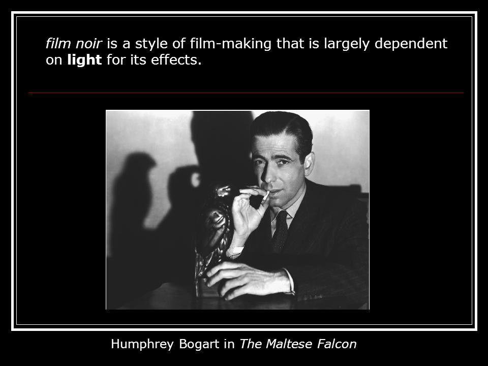 film noir is a style of film-making that is largely dependent on light for its effects.