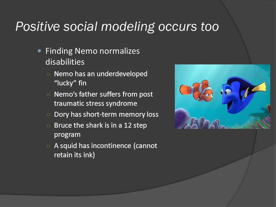 Positive social modeling occurs too